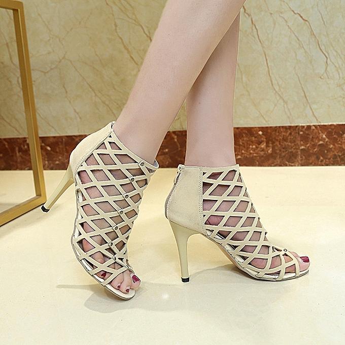 2d190bf4dec Hiamok Women s Fashion Peep Toe High Heels Shoes Rivet Roman Gladiator  Sandals