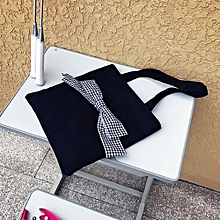 bluerdream-Bow Tie Canvas Tote Single Shopping Bags Large Capacity Beach Bags Casual Bag BK-Black