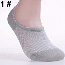 6 Pairs Men Fashion Summer Bamboo Ankle Invisible Loafer Boat Liner Low Cut Socks-1#gray