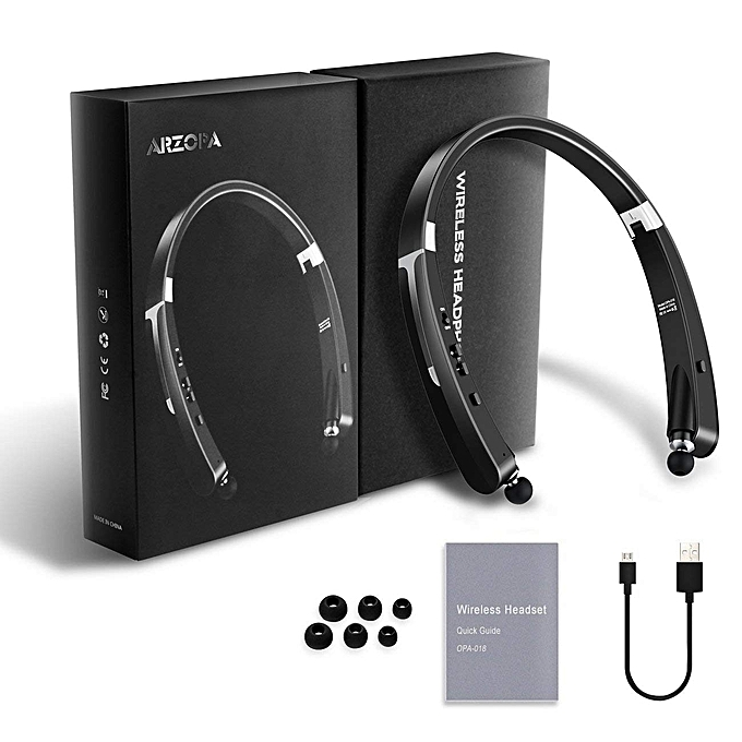 27655bd1e1f Wireless Bluetooth Foldable Neckband Headset Earphone Retractable Earbuds  V4.1 18 Hours Playtime For Iphone&Android