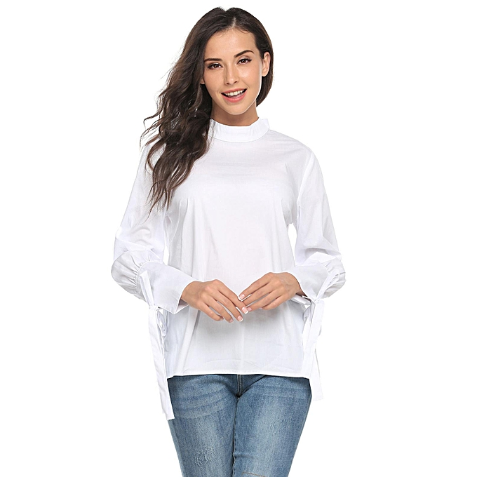 dc5248b8be2e78 Women Stand Neck Tie-Bow Knotted Long Sleeve Casual Loose Blouse Tops (  White )
