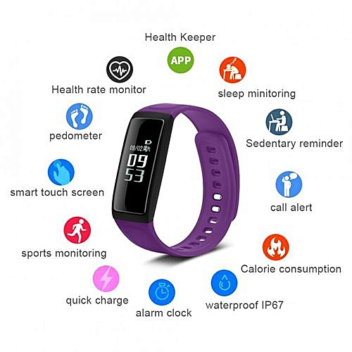 Clearance Sale Bluetooth Waterproof Sport Heart Rate Monitor Smartwatches  For Android IOS Purple