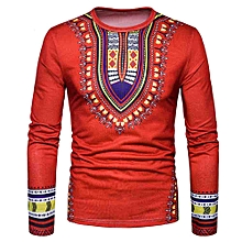 Generic  Men's Casual African Print O Neck Pullover Long Sleeved T-shirt Top Blouse A1