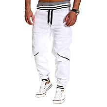 PODOM Men's Casual Wear Color Stitching Sports Trousers White