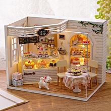 CuteRoom H-014 Cake Diary Shop DIY Dollhouse With Music Cover Light House Model-
