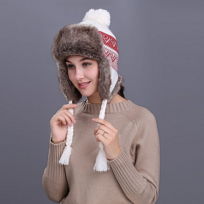 singedanWarm Women Winter Hat with Ear Flaps Snow Ski Thick Knit Wool Beanie  Cap Hat - 1e846816f7