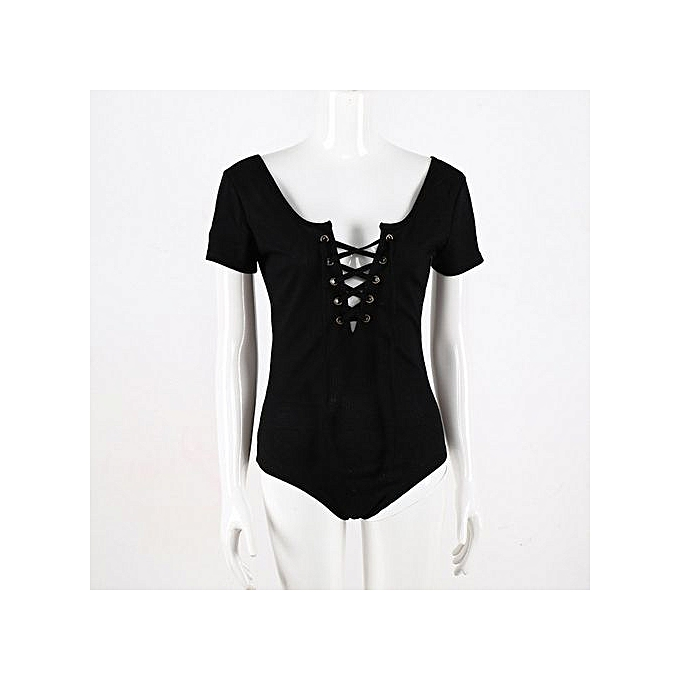 811df27e1d66 bluerdream- Women Short Sleeve Solid Bodysuit Leotard Top Blouse T-shirt  Jumpsuit -Black