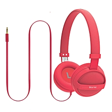 SONIC-Pink Kid Friendly On-Ear Stereo Wired Headset for Mobile, PC and Laptop(light-red)