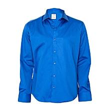 Plain Blue Shirt With A Blue Pocket Square