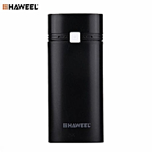 HAWEEL DIY Portable PowerBank Case Shell Box USB Port With Indicator For IPhone For Samsung 2x18650 Battery 5600mAh Black