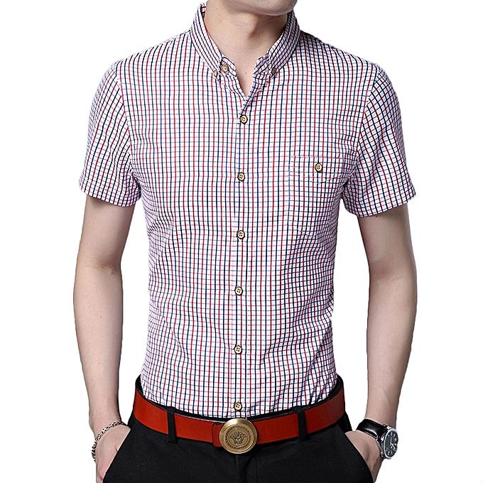 92d0b4b7c Fashion Mens Summer Short Sleeve Plaid Printing Pocket Casual Shirts ...