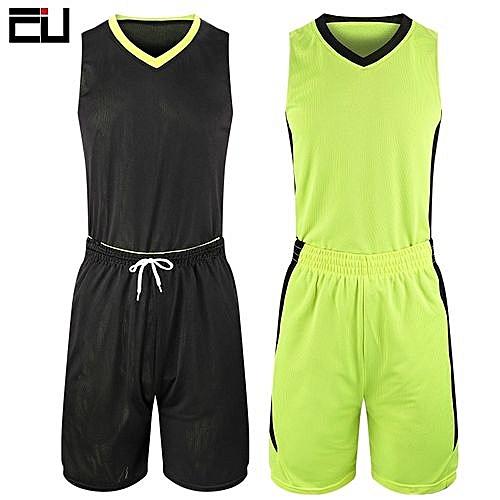 Eufy Customized Brand Men s Basketball Team Sport Jersey Set-Black Green( 2093) d1180bb91