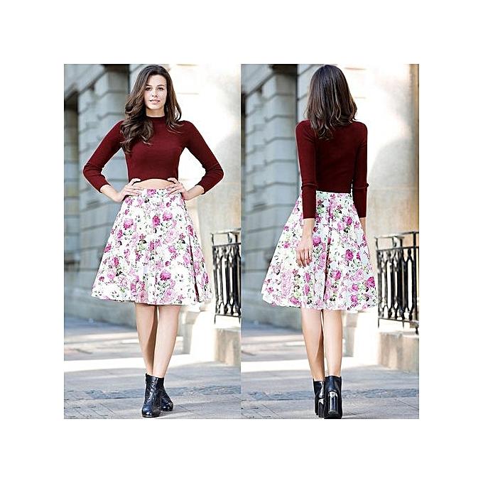73c91fa412 Women Sexy Midi Skirt Dot Floral Print Vintage White pink Plus Size Summer High  Waist Ball Gown