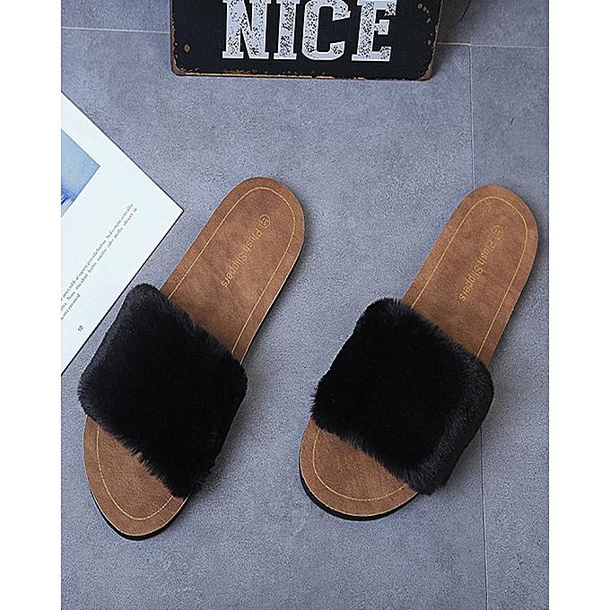 House Slippers For Women Fur Sandals Flip Flop Soft Flat Indoor Outdoor Black