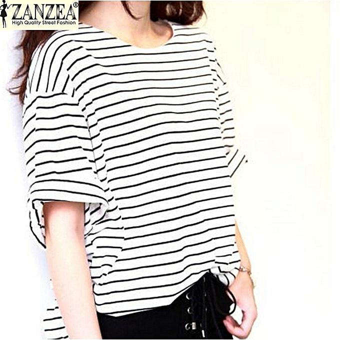 f9801d30cc1f ZANZEA New Fashion T-Shirts Women Summer Striped Tops Tees Casual Loose O  Neck Batwing