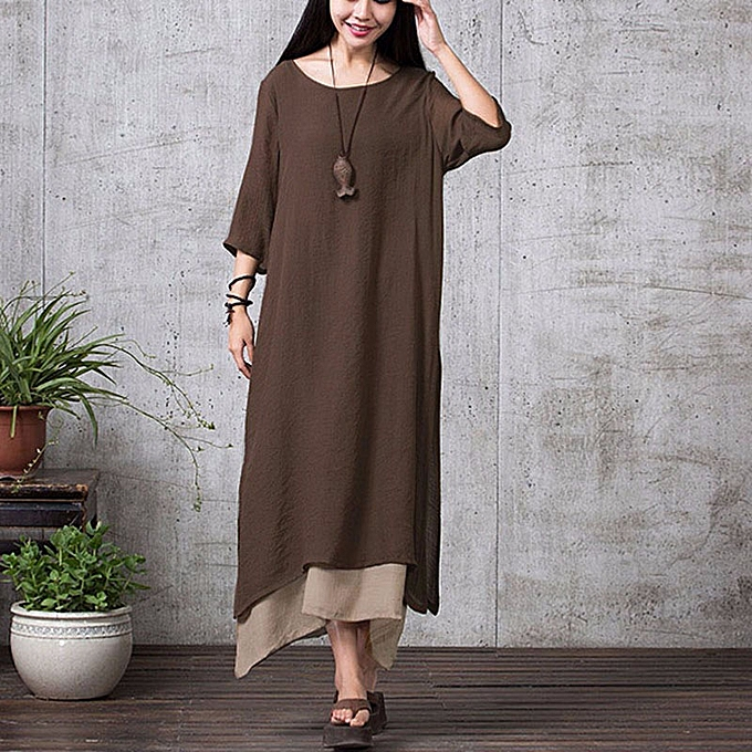 292314cd80f2 ZANZEA Women Linen Muslim Dress Summer Autumn Casual Loose Vintage O Neck  Elegant 3 4