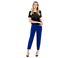 Blue Fashionable Regular Waist Stretch Standard Trousers