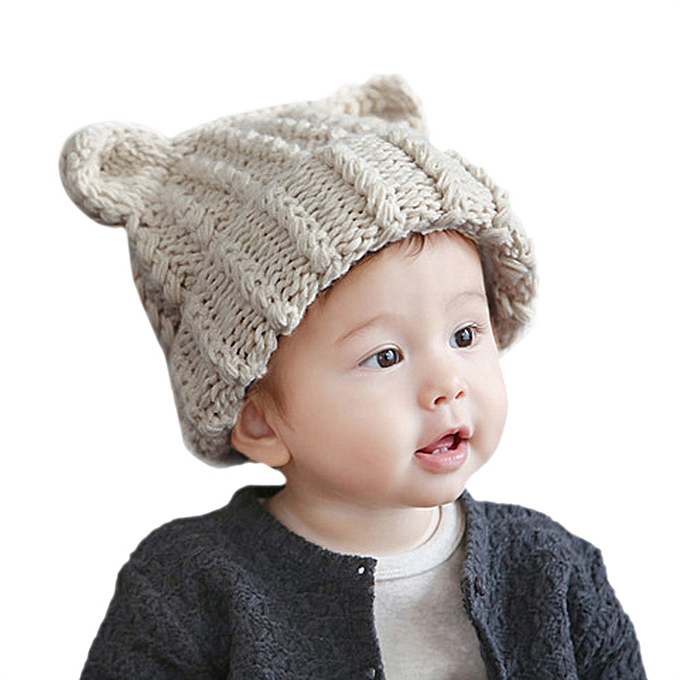 406c3864c2e Hiaojbk Store Cute Baby Toddler Kid Elasticity Cat Ears Pattern Knitting  Beanie Cap Warm Hat -