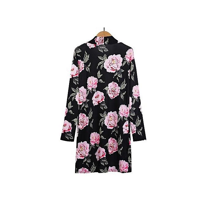 6ca5ea57956 Women Autumn Casual Loose Long Sleeve Print Floral Flower Long Cardigan  Coat M
