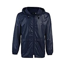 Mens Waterproof Lightweight Hooded waist-Long Outdoor Rain Coat 4colors-Navy Blue
