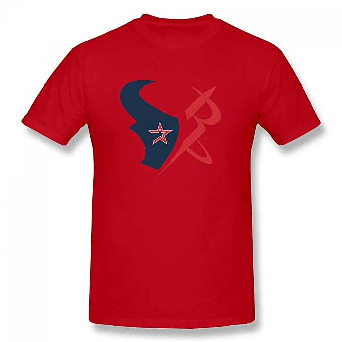 new style d70fb 476f4 Houston Texans Astros Rockets Logos Men's Cotton Short Sleeve Print T-shirt  Red