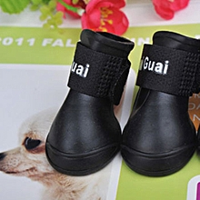 Waterproof Pet Little Dog Teddy Rain Boots Shoes Anti-Slip Paws Booties Black