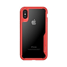 Shock-Proof Soft Case Cover For Apple iPhone X Red/Clear