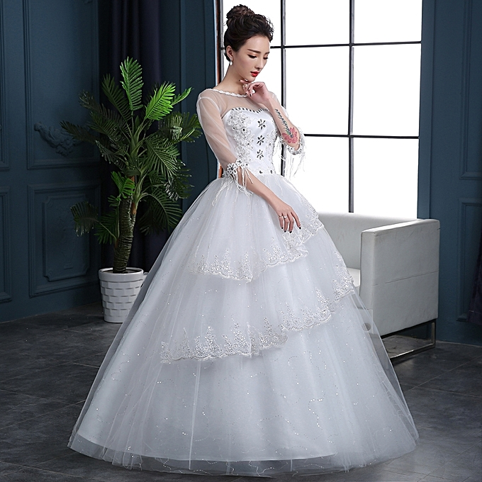 Wedding Gowns With Sleeves.Luxury Ball Gown Wedding Dresses With Half Sleeve