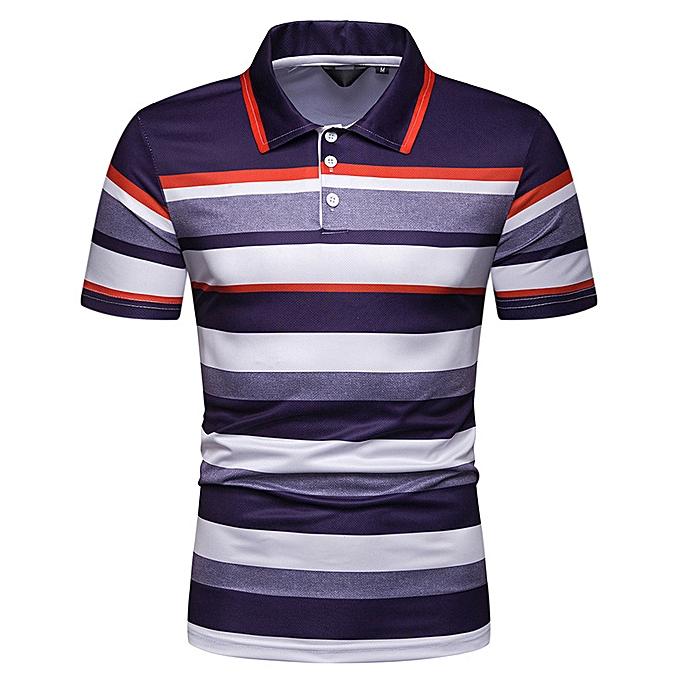 men's short-sleeved Polo shirt 2019 new summer Men's contrast color striped  slim lapel casual t-shirt PL43-grey