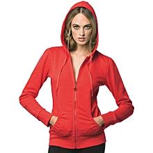 Plain zipped  Hoodie- red