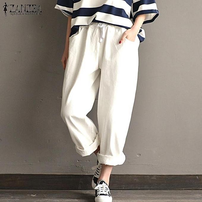 9f1826d6aac ZANZEA Women Casual Wide Leg Cotton Pants Loose Plus Size Harem Trousers