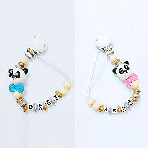 Infant Baby Wood Beaded Pacifier Holder Clip Nipple Teether Dummy Strap Chain Q