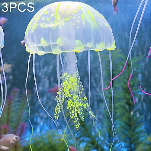 3 PCS Aquarium Articles Decoration Silicone Simulation Fluorescent Sucker  Jellyfish, Size: 10*23cm (Yellow)