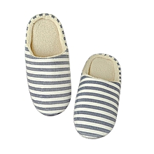 Striped Indoor Cotton Slippers Anti-slip Winter House Shoes Soft Bottom navy blue  42/43