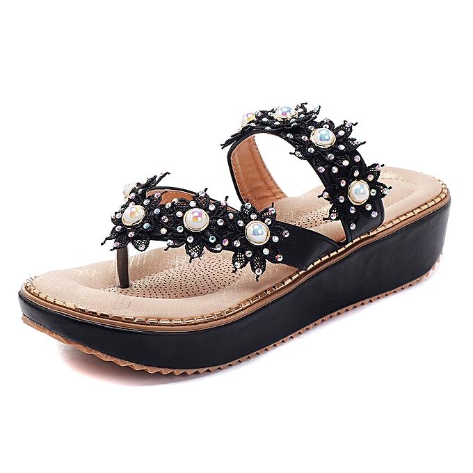 a1bacfa7a US Szie 5-11 Retro Rhinestone Flowers Soft Slippers Women Summer Shoes