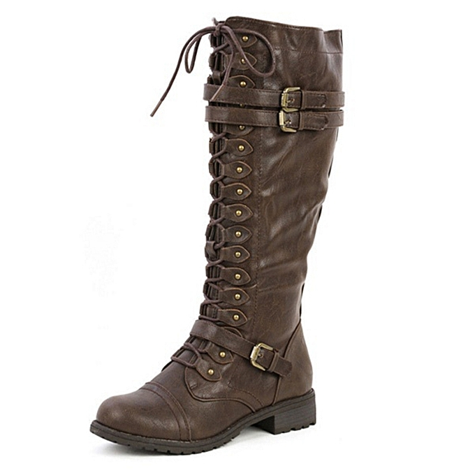 7c3fdfebf70e Women Ladies Knee High Boots Rivet Buckle Decal PU Leather Lace Up Riding  Boots