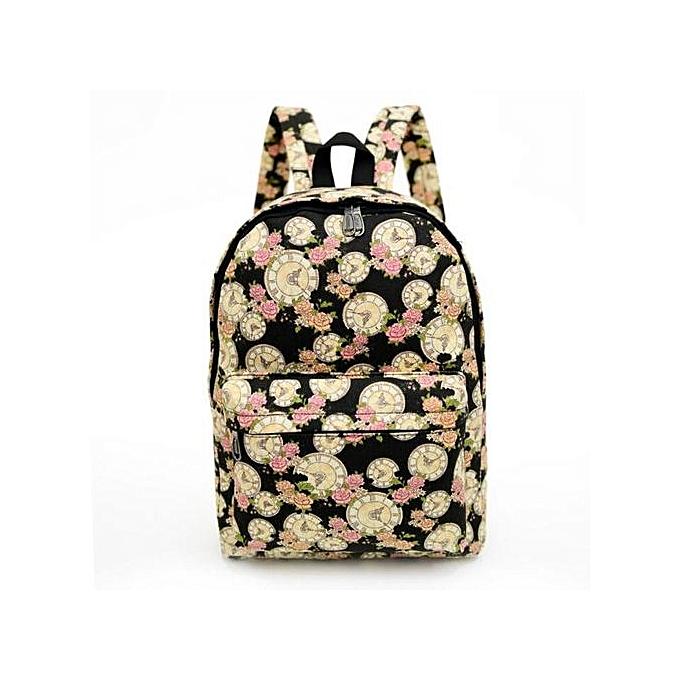 9661939ed0 Fashion Xingbiaocao Women Backpack Canvas School Bag Printing School  Backpacks Shoulder Bags BK -Black