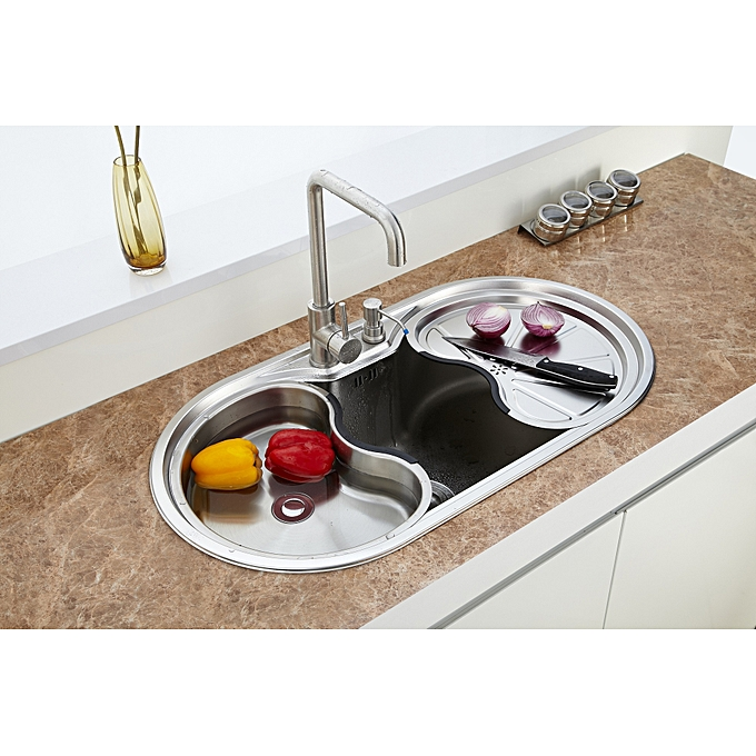 32ba575598a8c 24cm-Deep Round Modern Kitchen Sink with Accessories