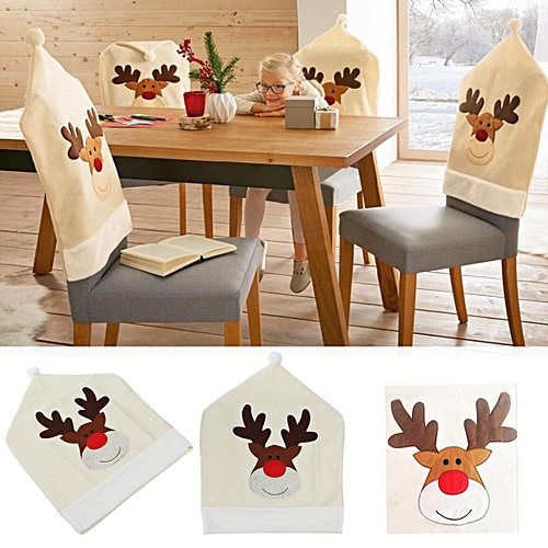 Generic Christmas Santa Hat Chair Cover Ornaments Holiday Party Home