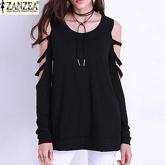 baa64f57 ZANZEA Women Blouse Plain Casual Off Shoulder Ripped Holes Spirng O Neck Long  Sleeve Hollow Out