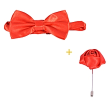 Satin Bow Ties Plus matching lapel -Red