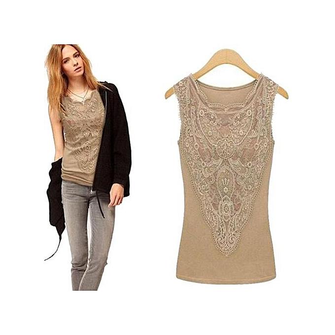 7b28da186 Hiaojbk Store Women Solid Lace Sleeveless T-Shirt Casual Summer Blouse Tops  Vest-Beige