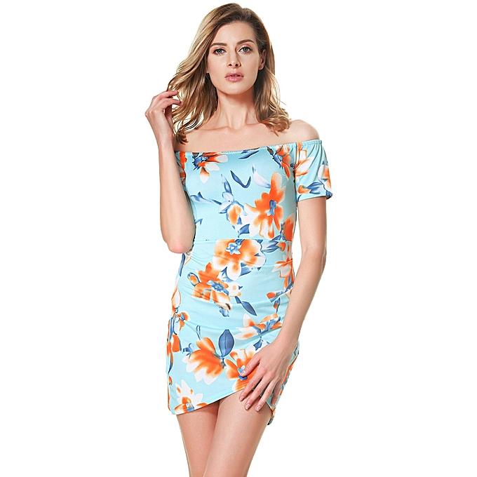 f7ba9301bc433 Women Floral Off the Shoulder Dress Slash Neck Ruched Short Sleeves Back  Zipper Mini Dress Blue