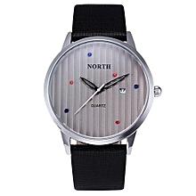 Fohting NORTH Stainless Steel Calendar Leather Men's Business Quartz Wrist Watch Black -Black