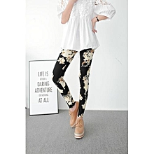 New Style Fashion Floral Patterned Printed Leggings Pencil Pants Women Lady Strech Skinny Pants Trousers (Color: Black)