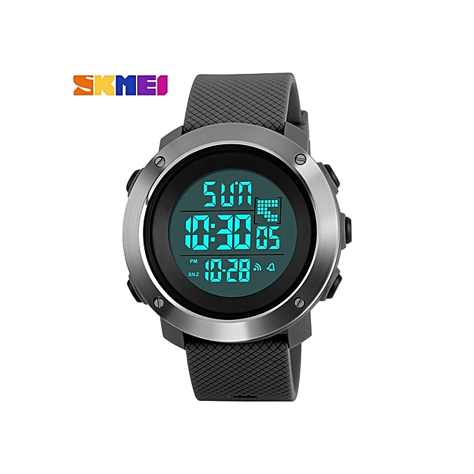 Men's Watches Skmei Sport Fashion Man Watch Water Resisitant Led Display Casual Stainless Steel Wristwatch 2 Time Week Display Outdoor Clock Watches