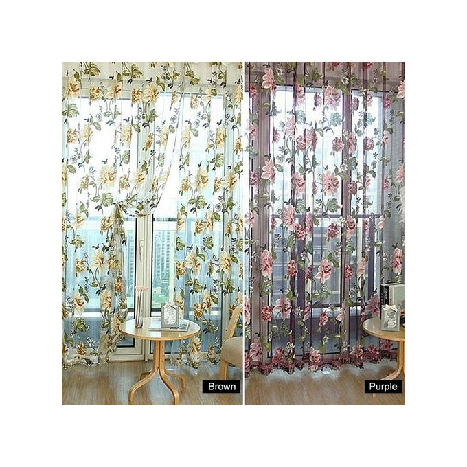 Sunweb New Tulle Shielding Floral Curtains Window Screen