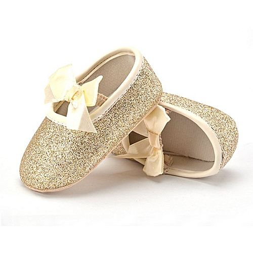 34ca9f991f Newborn Baby Shoes with Cute Bow Knot Baby Toddler Shoes Anti-skid Shoes  gold 13cm