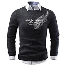 Men Autumn Winter Casual Letters Sweater Knitting Sweater Tops Blouse BK/L- Black
