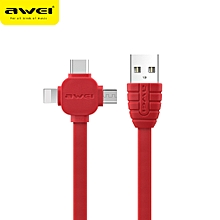 AWEI CL-82 3 in 1 Charging Cable Lightning Type-C Micro USB Quick Charge Cable Transfer Data Cord Data Sync for iPhone X 8 7 Samsung Galaxy Android Samsung Nokia Sony Huawei